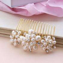 wedding photo - Wedding Pearl Hair Comb Gold Bridal Hair Accessories Ivory Real Pearls Vintage Floral Brooch Style Rhinestones  etsy uk