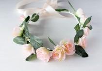 wedding photo - Peach Rose Crown, Peach Coral Halo, Woodland Bridal Halo, Floral Crown, Flower Girl Wreath, Boho Rose Crown, Festival Crown, Peach Hair Halo