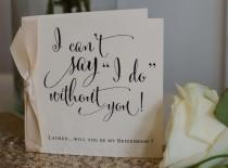 wedding photo - Personalised Vintage/Rustic/Shabby Chic 'Will you be my Bridesmaid?' Card with ribbon knot