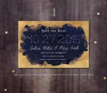 wedding photo - Constellation Save the Date, Navy and Gold Save the Date, Starry Night Wedding Save the Date, Star Wedding, PRINTABLE Save the Date