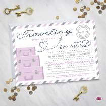 wedding photo - Traveling from Miss to Mrs.– Bridal Shower Invitation (Digital file)