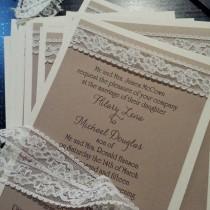 wedding photo - Burlap look lace wedding invitation