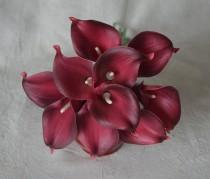 wedding photo - 10 Burgundy Calla Lilies Real Touch Flowers For Silk Wedding Bouquets, Centerpieces, Wedding Decorations