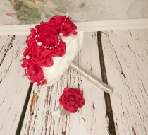 wedding photo - READY to SHIP White red silver Fabric Bouquet winter Wedding Bridal Bouquet with Pearls HANDMADE flowers brooch cotton lace satin handle