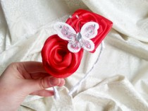 wedding photo - Red and white headband with handmade satin flowers and butterfly with sparkling elements, flower girl bridesmaid