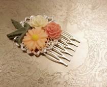 wedding photo - Handmade wedding hair comb clip resin flowers roses vintage bird cream peach green sage wedding prom accessory hair piece bride