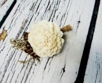 wedding photo - Cream brown rustic wedding Rustic BOUTONNIERE / CORSAGE groom groomsman, Sola Flower, dried limonium Wedding Flowers custom