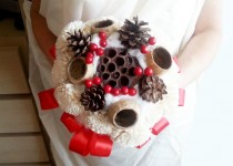 wedding photo - READY to SHIP Cream rustic wedding BOUQUET Flowers pine cones bell cup cotton red berriees winter wedding sola roses winter wonderland