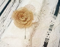 wedding photo - Rustic wedding boutonniere burlap and lace handmade flower metal pin