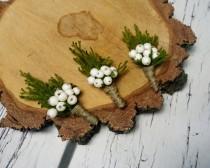 wedding photo - Winter wedding rustic wedding cypress bulap white frozen balls Boutonniere Groom and groomsmen, Wedding Flowers custom