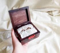 wedding photo - Cream brown red ecru rustic wedding rings box burlap cotton lace vintage custom