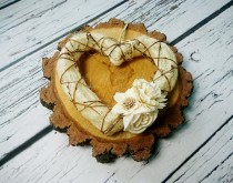 wedding photo - Rustic style heart wreath with sola flowers centrepiece table hanging decor cream brown wedding