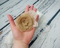wedding photo - Bobby pin wedding hair clip burlap and lace handmade flower bridal hair piece pearl rustic custom