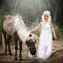 wedding photo - Boho flower girl dress, flower girl dresses,rustic flower girl dress, girl dress,white beach flower Girl Dress,Ivory Beach Flower girl dress