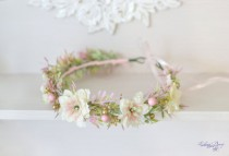 wedding photo - Blush Wedding flower crown Pastel bridal headpiece Pink gold bridal floral headband Pastel flower halo Wild flowers beads Boho wreath