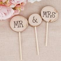 wedding photo - Rustic Cake Topper, Wooden Cake Decoration, Rustic Wedding, Wooden Cake Topper Set