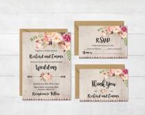 wedding photo - Floral Boho Wedding Invitation Suite, Printable Boho Wedding Invite, Floral Rustic Wedding Invite, Peonies Wedding Invite, Download, 109-A