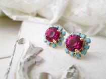wedding photo - Swarovski Crystal Pink Fuchsia Turquoise Gold or Silver Stud Earrings,Pink Turquoise Swarovski Bridesmaids Earrings,Swarovski Stud Earrings