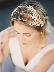 wedding photo - Gilded Gold Leaves Triple Headband, Gold Metal Hair Vine, Silver Headpiece, Garden Bridal Tiara, Bridal Headpiece, Grecian Beaded Crown