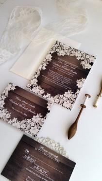 wedding photo - Wood Wedding Invitation - Rustic Wood Effect Wedding Invitation - Washington design {dark}