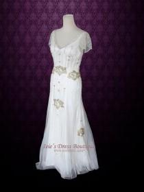 wedding photo - Ivory Bohemian Beach Wedding Dress With Silk Lining Cap Sleeves And Intricate Beading