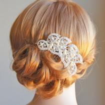 wedding photo - 50% OFF SALE, Bridal Hair Accessories, Crystal Leaf Wedding Hair Comb, Vintage Style Swarovski Pearl Cluster Headpiece, Hairpiece, AURORA