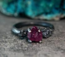 wedding photo - Rough Ruby Black Diamond Twig Ring, Alternative Engagement Ring, Goth Style Jewelry, Sterling Silver Leaf Ring