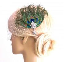 wedding photo - Birdcage Veil ,peacock Feathers Fascinator,(2 ITEMS), bridal Feathers Fascinator, Hair Accessories,bridal head piece