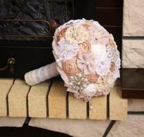 wedding photo - Wedding set bouquet. Brooch bouquet, fabric bouquet. Wedding Brooch bouquet. Rustic brooch bouquet ivory . Bridesmaids bouquet