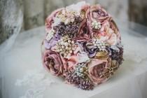 wedding photo - Dusty pink flowers, brooch bouquet, bridal bouquet, babies breath posy, throw bouquet, rustic flowers, pink flower bouquet, pearl bouquet