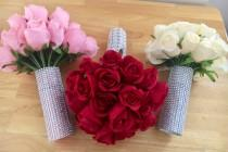 wedding photo - Rose Bridal Wedding Bouquet Red Pink Ivory - Brooch Diamante Crystal Gem Embelishment - Silk Real Touch Roses