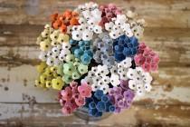 wedding photo - Alternative Bridal Bouquet,Rustic Bouquet,Ceramic Flowers,Modern Bride,Boutonniere For Groom,Bridesmaid Gift,Woodland Wedding,Anemone Flower