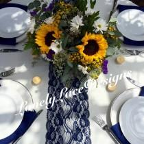 """wedding photo - WEDDING DECOR/Navy Lace Table Runner, 21ft to 28ft  long x 7"""" wide/Nautical/Rustic Decor/Navy weddings/centerpiece/Ends Not Sewn/Free Runner"""