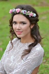 wedding photo - Wedding flower crown Pastel pink blue Flower girl wedding halo Roses ranunculus wreath Bridal floral crown Pink blue wedding headband