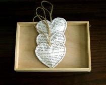 wedding photo - Vintage Book Paper Heart Ornaments, Set of 3, Vintage Wedding Decoration, Christmas Wedding, Rustic Wedding Decoration (ITEM: TPG53)