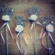 wedding photo - Flower Girl wand Sparkle Heart, any colour