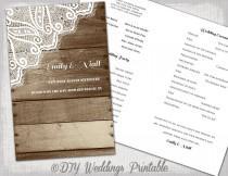 "wedding photo - Rustic Wedding program Printable program template ""Wood & Lace"" DIY YOU EDIT digital country wedding program download"