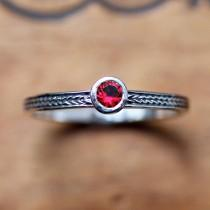 wedding photo - Red ruby ring sterling silver, silver ruby ring, birthstone stacking ring, July birthstone ring promise ring braided silver ring custom made