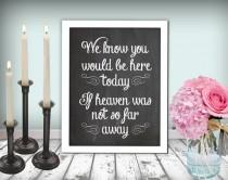 wedding photo - Wedding In Memory Of Sign Heaven Sign Chalkboard Printable 8x10 PDF DIY Instant Download Digital Files Only Rustic Shabby Chic Woodland