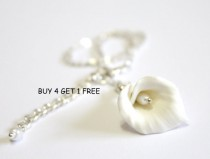 wedding photo - White Calla Lilies - Calla Lilies Jewelry - Gifts - White Calla Lilies Bridesmaid, Necklace, Bridesmaid Jewelry