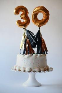 wedding photo - Mini gold foil mylar balloon with tassels cake topper table number