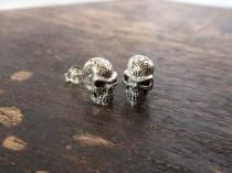 wedding photo - Halloween Men Engraving  Silver Alien Skull Stud Earrings With Oxidized Finish,Alien Skull Earring,Halloween Gift,Men Earring,Gifts For Him