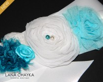 wedding photo - White Turquoise Teal Flower Girl Sash Floral White Satin Wedding Sash Teal White Flower Girl Belt White Turquoise Sash Flower Girl Gifts