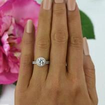 wedding photo - 1.5 ctw Round Classic Halo Ring, Bridal Set, Man Made Diamond Simulants, Half Eternity Ring, Engagement Ring, Wedding Set, Sterling Silver