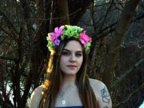 wedding photo - hot pink and green flower crown