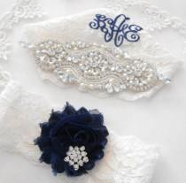 wedding photo - Wedding Garter Set MONOGRAM OPTION Lingerie Lace Classic Pearls and Rhinestone Setting Shabby Rose Bridal Garter Set