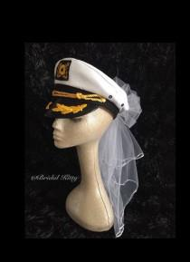 wedding photo - Bachelorette Veil Bride Nautical Captain Hat & Sash Last Sail Before The Veil Bridal Veil Sailor White Wedding Veil Anchor Cruise Pool Party