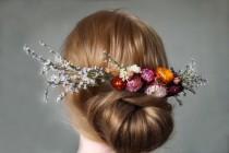 wedding photo - Dried flower wedding White Limonium Flowers Hair Comb Hair flowers hair comb dried flower garden wedding bridal headpiece hair accessories
