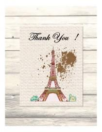 wedding photo - Eiffel Tower Paris- Destination Wedding Thank You Cards Customizable - Printable Digital Download