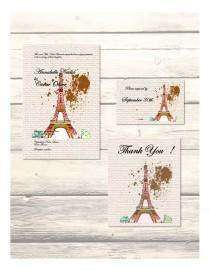 wedding photo - Set of Eiffel Tower Paris- Destination Wedding Invitation, RSVP & Thank You Cards Customizable - Printable Digital Download